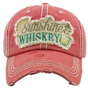 Sunshine & Whiskey Pink Salmon Distressed Hat